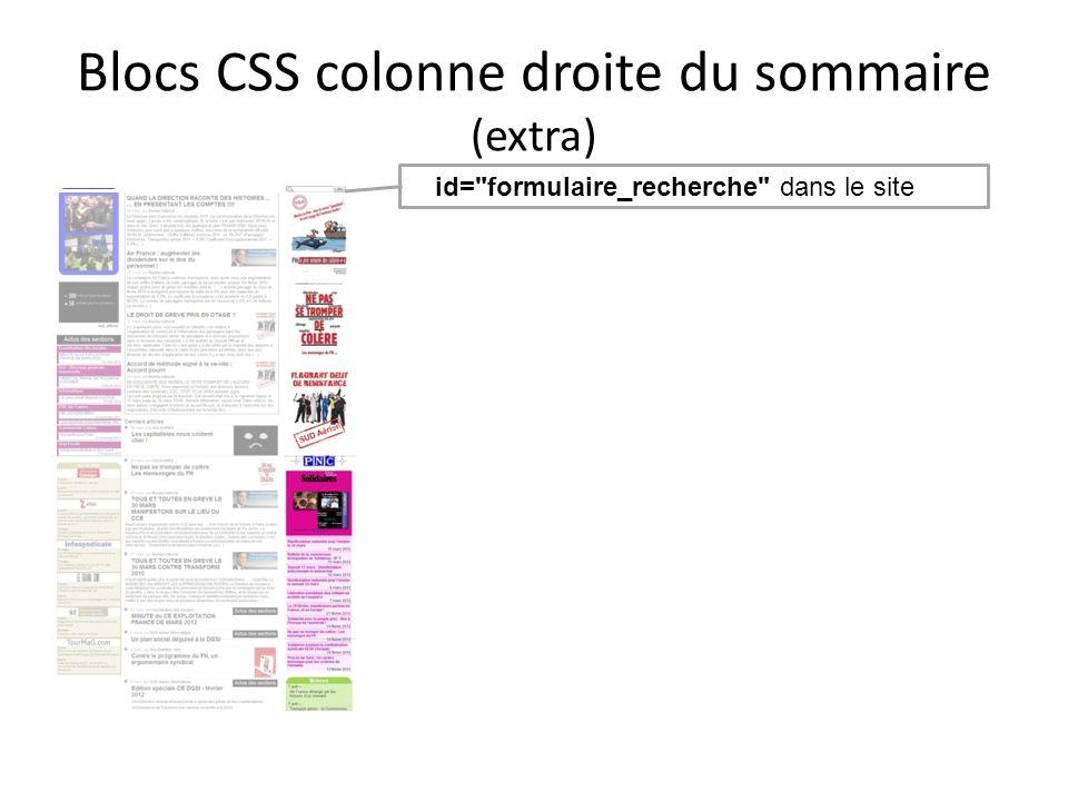 Blocs CSS colonne droite du sommaire (extra) F id=