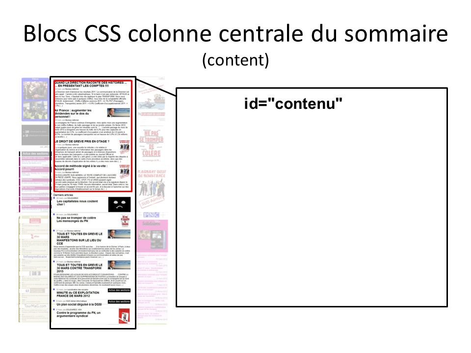 Blocs CSS colonne centrale du sommaire (content) id=