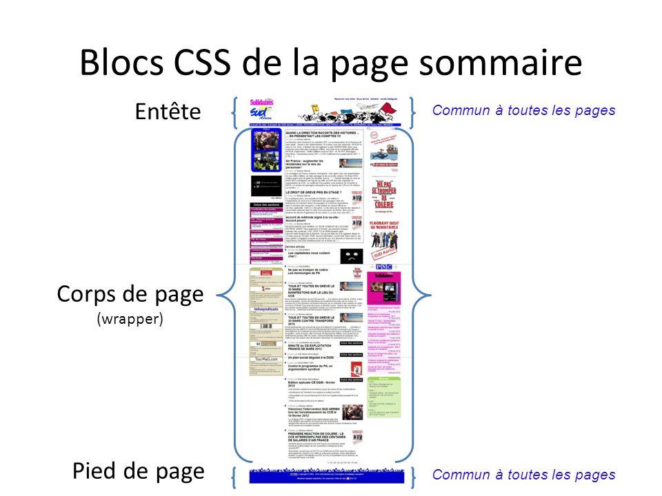 Blocs CSS de la page sommaire Entête Corps de page (wrapper) Pied de page Commun à toutes les pages