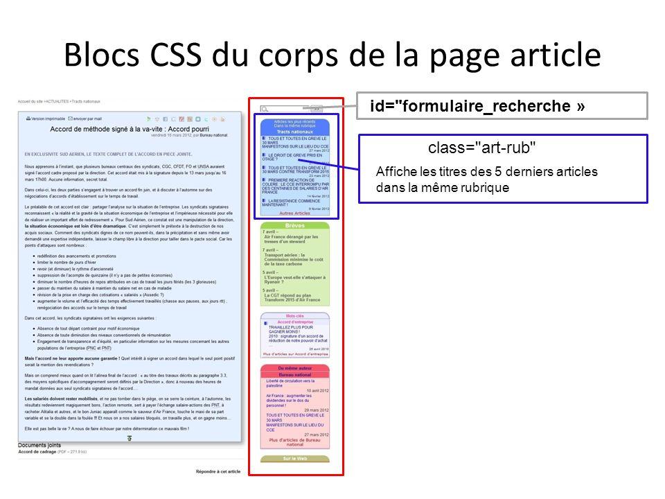 Blocs CSS du corps de la page article F id=