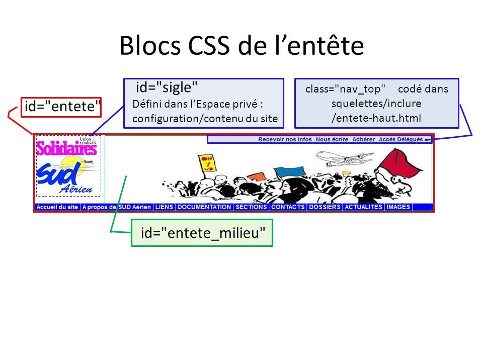 Blocs CSS de lentête id=