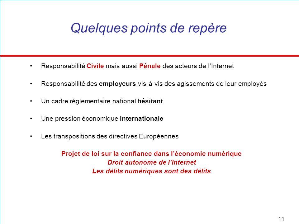 11 Quelques points de repère Responsabilité Civile mais aussi Pénale des acteurs de lInternet Responsabilité des employeurs vis-à-vis des agissements