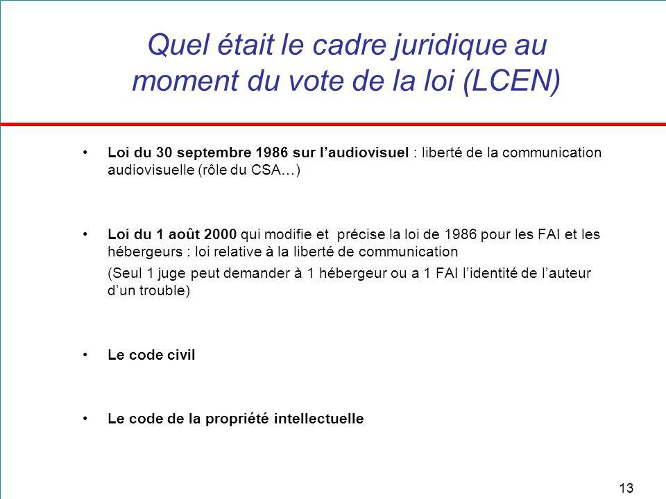 13 Quel était le cadre juridique au moment du vote de la loi (LCEN) Loi du 30 septembre 1986 sur laudiovisuel : liberté de la communication audiovisue