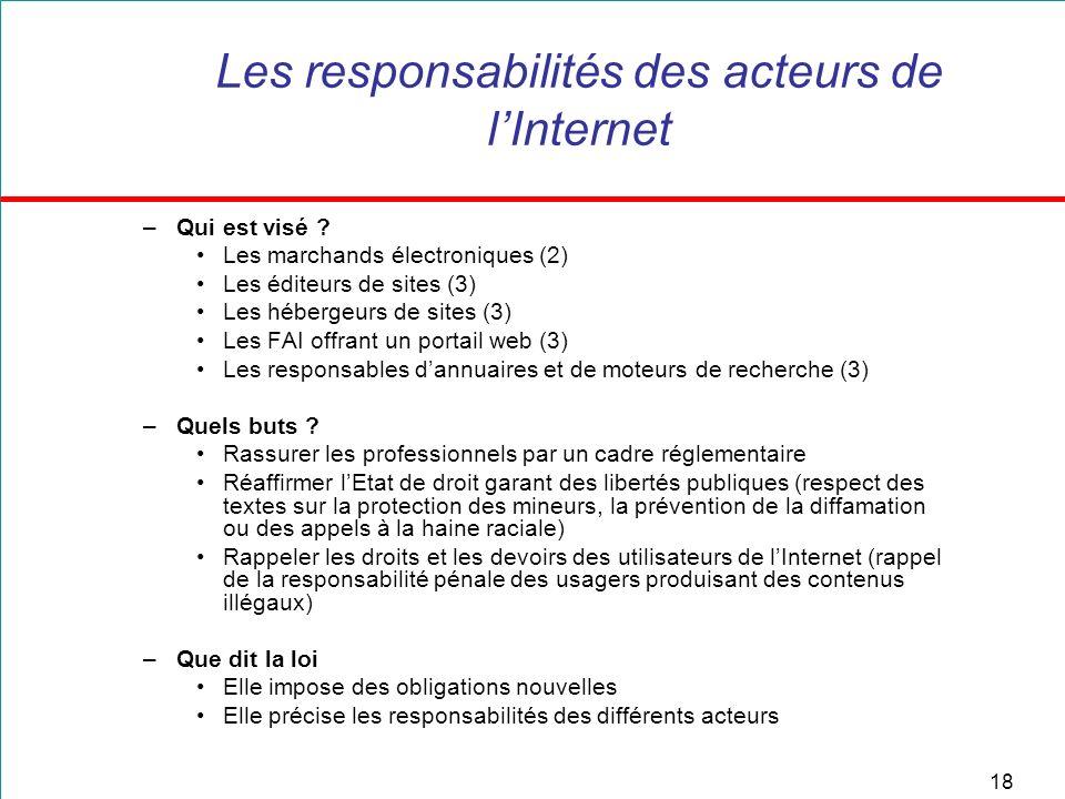 18 Les responsabilités des acteurs de lInternet –Qui est visé ? Les marchands électroniques (2) Les éditeurs de sites (3) Les hébergeurs de sites (3)
