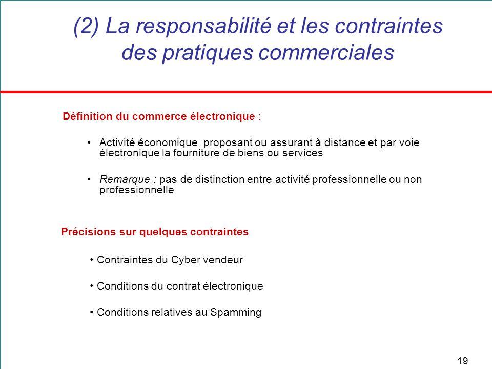 19 (2) La responsabilité et les contraintes des pratiques commerciales Définition du commerce électronique : Activité économique proposant ou assurant