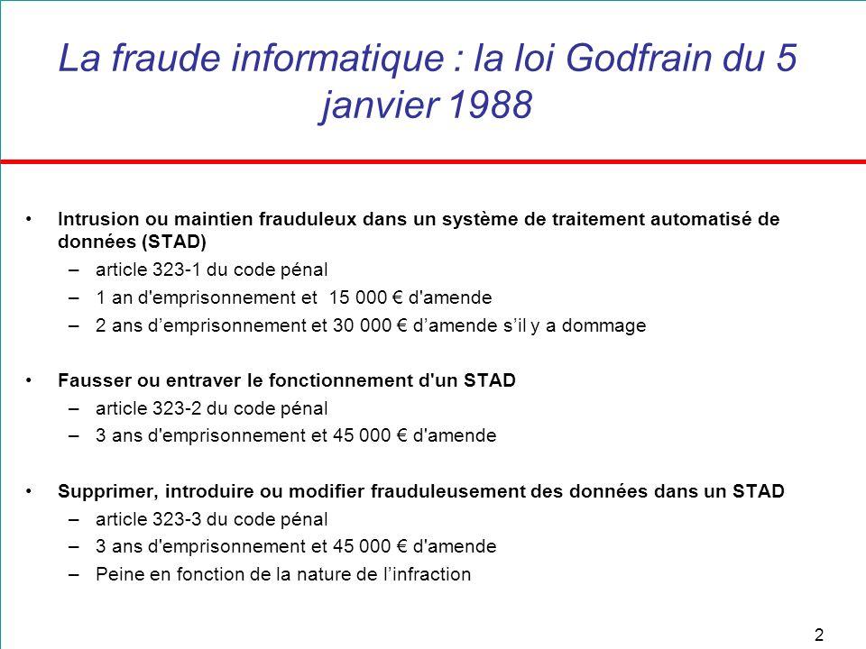 2 La fraude informatique : la loi Godfrain du 5 janvier 1988 Intrusion ou maintien frauduleux dans un système de traitement automatisé de données (STA