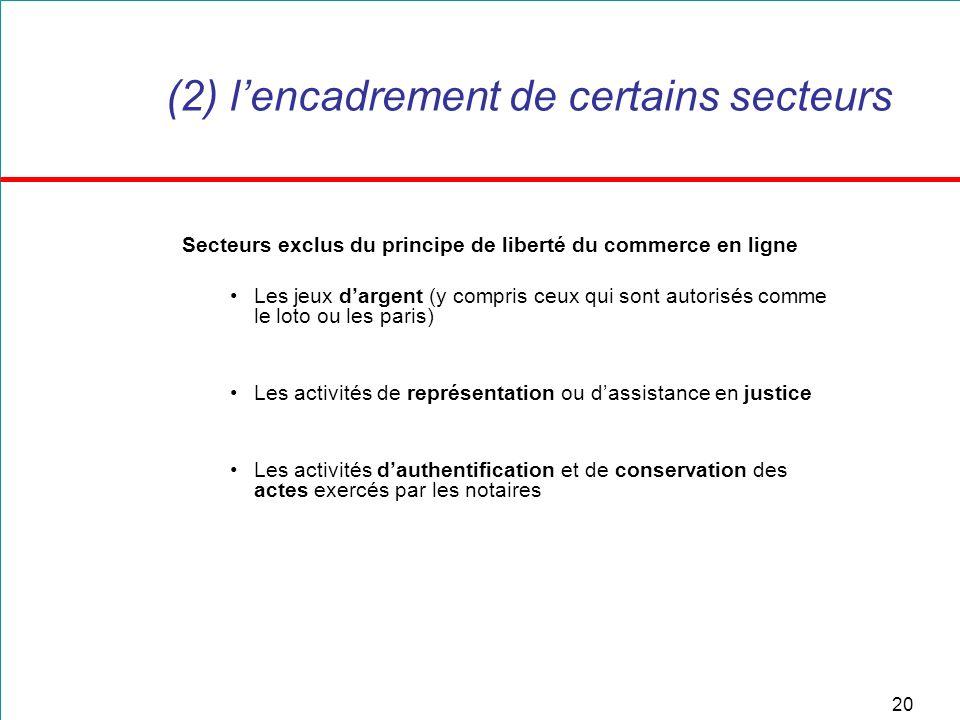 20 (2) lencadrement de certains secteurs Secteurs exclus du principe de liberté du commerce en ligne Les jeux dargent (y compris ceux qui sont autoris