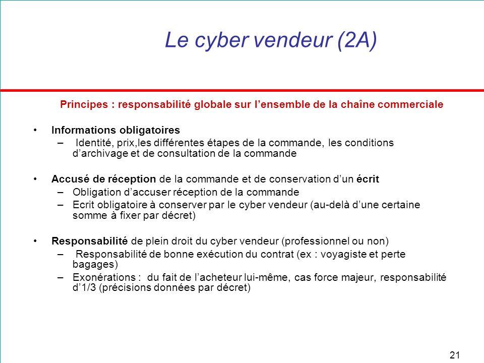 21 Le cyber vendeur (2A) Principes : responsabilité globale sur lensemble de la chaîne commerciale Informations obligatoires – Identité, prix,les diff