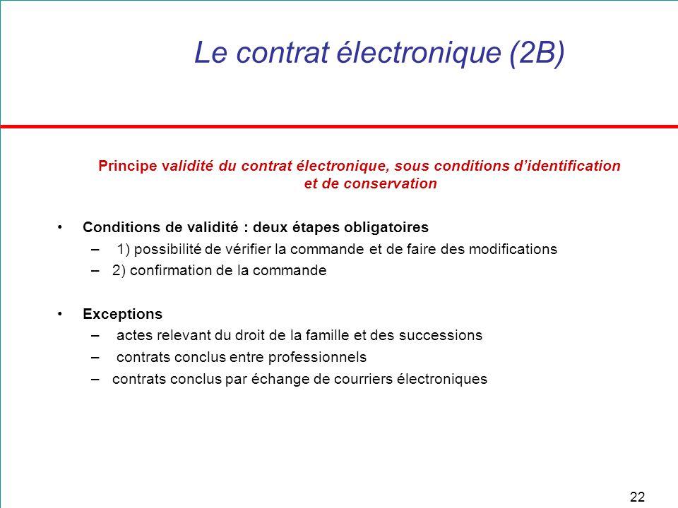 22 Le contrat électronique (2B) Principe validité du contrat électronique, sous conditions didentification et de conservation Conditions de validité :
