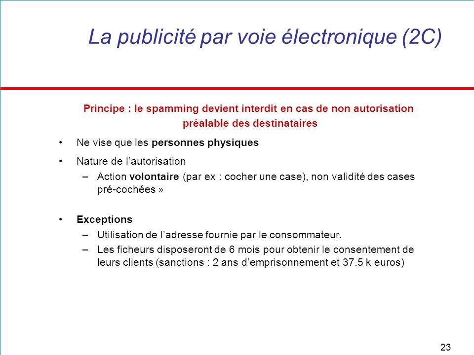 23 La publicité par voie électronique (2C) Principe : le spamming devient interdit en cas de non autorisation préalable des destinataires Ne vise que