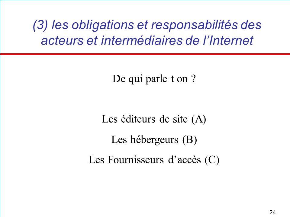 24 (3) les obligations et responsabilités des acteurs et intermédiaires de lInternet De qui parle t on ? Les éditeurs de site (A) Les hébergeurs (B) L