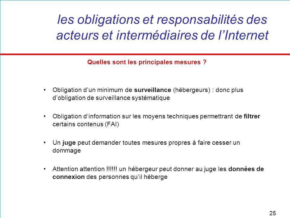 25 les obligations et responsabilités des acteurs et intermédiaires de lInternet Quelles sont les principales mesures ? Obligation dun minimum de surv