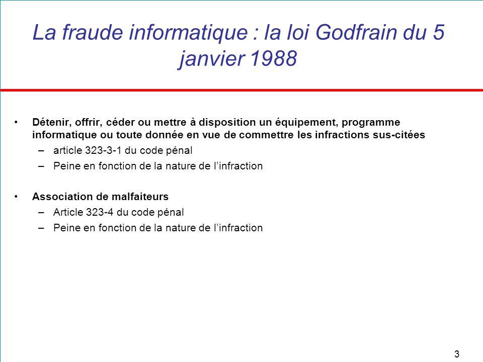 3 La fraude informatique : la loi Godfrain du 5 janvier 1988 Détenir, offrir, céder ou mettre à disposition un équipement, programme informatique ou t