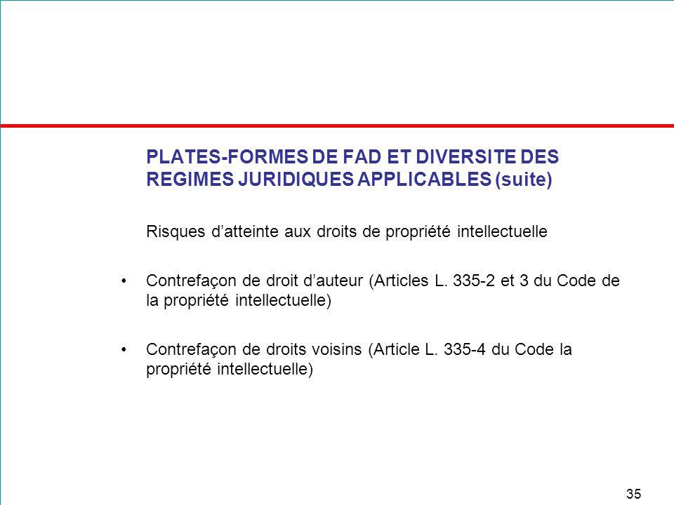 35 PLATES-FORMES DE FAD ET DIVERSITE DES REGIMES JURIDIQUES APPLICABLES (suite) Risques datteinte aux droits de propriété intellectuelle Contrefaçon d