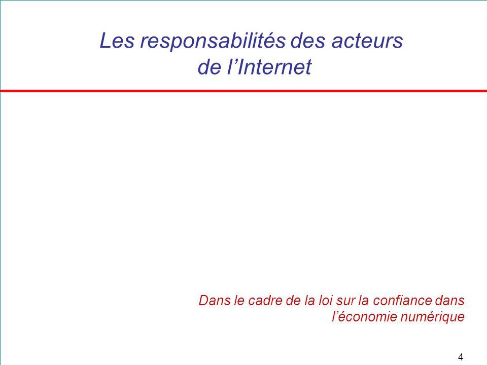 4 Les responsabilités des acteurs de lInternet Dans le cadre de la loi sur la confiance dans léconomie numérique