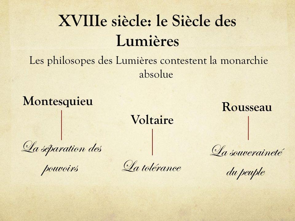 XVIIIe siècle: le Siècle des Lumières Les philosopes des Lumières contestent la monarchie absolue Montesquieu Voltaire Rousseau La séparation des pouv