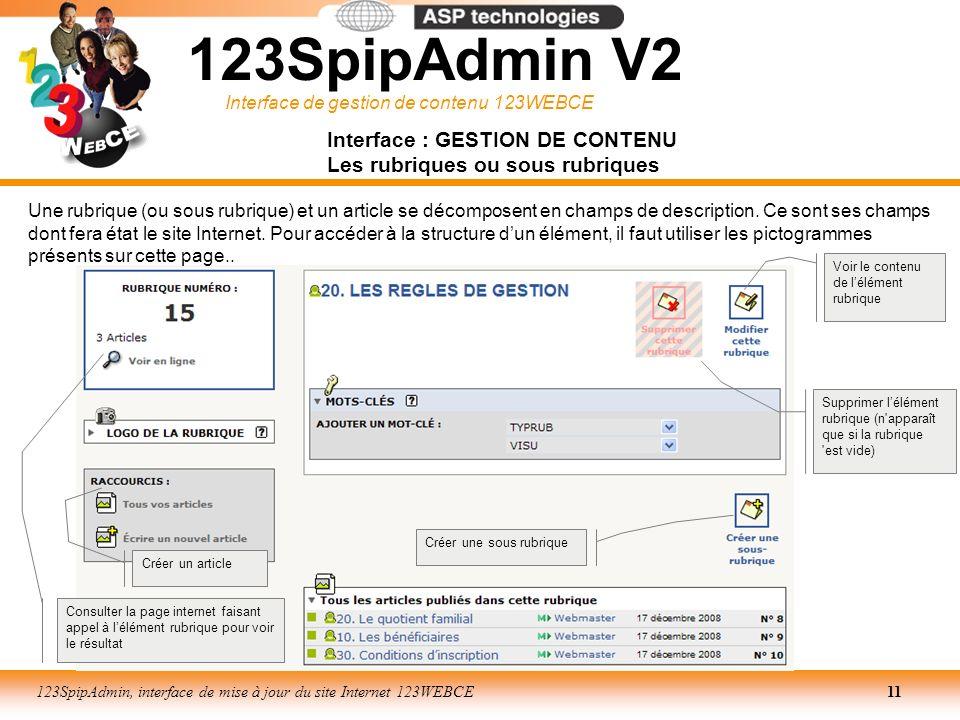 Interface de gestion de contenu 123WEBCE 123SpipAdmin, interface de mise à jour du site Internet 123WEBCE11 Interface : GESTION DE CONTENU Les rubriqu