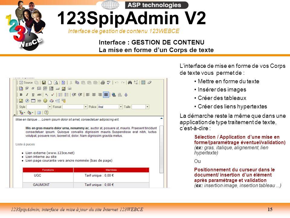 Interface de gestion de contenu 123WEBCE 123SpipAdmin, interface de mise à jour du site Internet 123WEBCE15 Interface : GESTION DE CONTENU La mise en