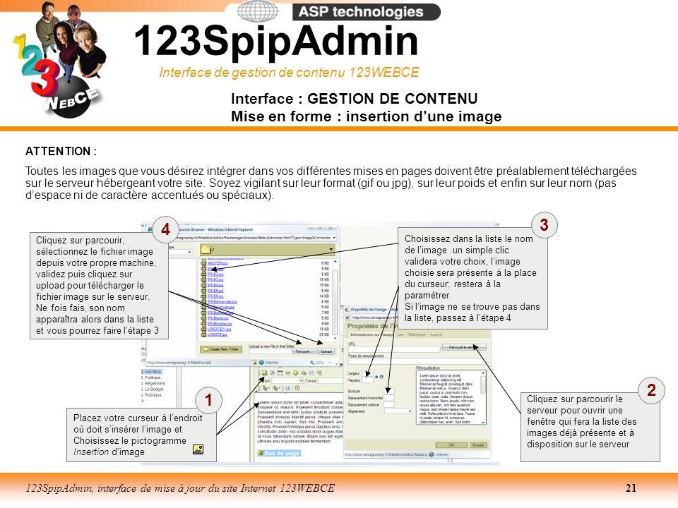 Interface de gestion de contenu 123WEBCE 123SpipAdmin, interface de mise à jour du site Internet 123WEBCE21 123SpipAdmin Interface : GESTION DE CONTEN