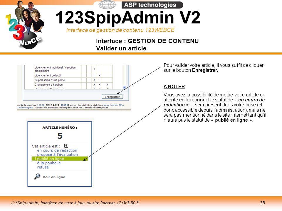 Interface de gestion de contenu 123WEBCE 123SpipAdmin, interface de mise à jour du site Internet 123WEBCE25 Pour valider votre article, il vous suffit