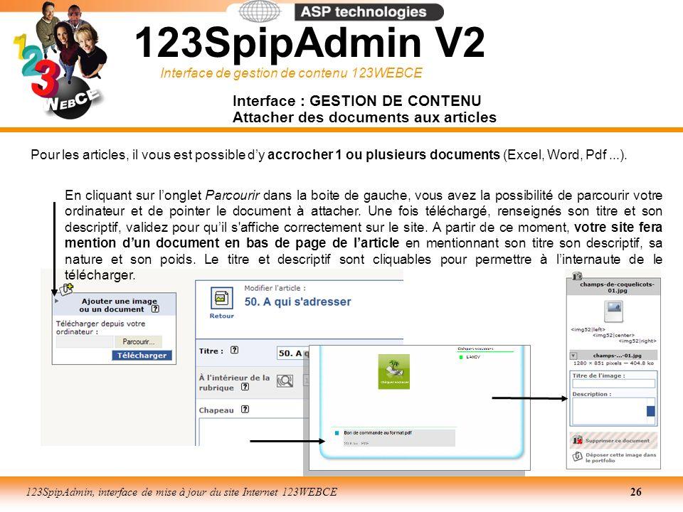 Interface de gestion de contenu 123WEBCE 123SpipAdmin, interface de mise à jour du site Internet 123WEBCE26 Interface : GESTION DE CONTENU Attacher de