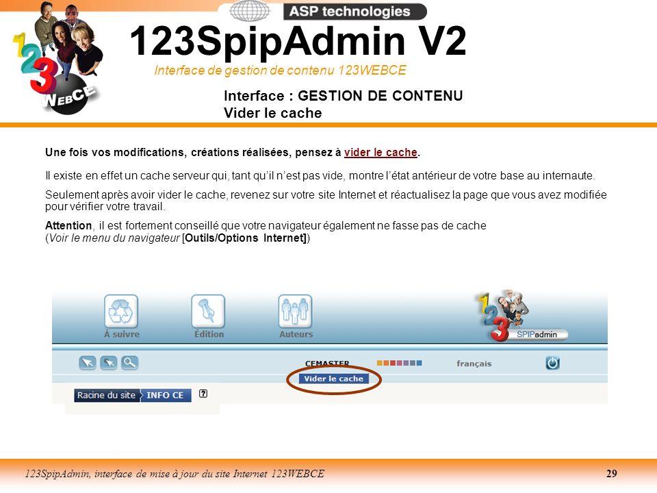 Interface de gestion de contenu 123WEBCE 123SpipAdmin, interface de mise à jour du site Internet 123WEBCE29 Une fois vos modifications, créations réal