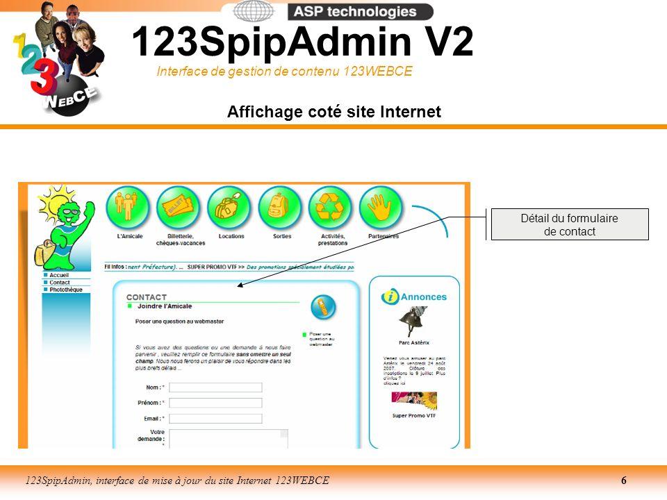 Interface de gestion de contenu 123WEBCE 123SpipAdmin, interface de mise à jour du site Internet 123WEBCE27 LES RUBRIQUES PARTICULIERES Rubriques principales - Fil infos - Annonces Nous avons donc vu quen ce qui concerne les Rubriques principales cest-à-dire les 6 points dentrées principaux du site, nous utilisons la structure suivante Par contre pour le Fil infos, la rubrique ne contient que des articles dont il faudra renseigner le titre et le corps de texte.
