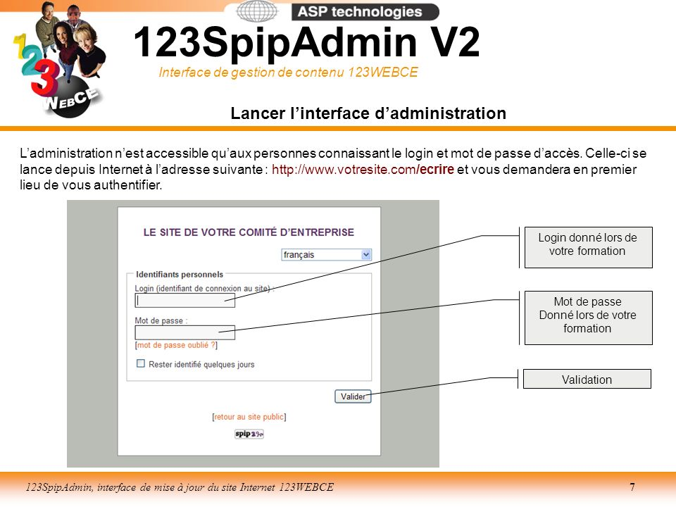 Interface de gestion de contenu 123WEBCE 123SpipAdmin, interface de mise à jour du site Internet 123WEBCE18 Interface : GESTION DE CONTENU Mise en forme : création de liens hypertextes LIEN EXTERNE Définition de ladresse de la page à pointer (URL de type : www.aaaaaa.com) Détermination de la fenêtre daffichage de la nouvelle page : _blank nouvelle fenêtre _self même fenêtre (option prise par défaut) Validation 3 2 2 Sélection du texte (ou de limage le cas échéant) puis choix du picto lien hypertexte 1 123SpipAdmin V2