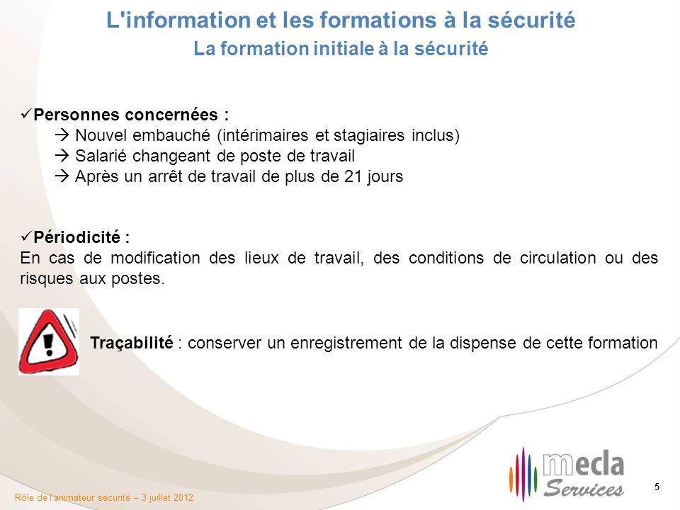 Rôle de l'animateur sécurité – 3 juillet 2012 5 L'information et les formations à la sécurité La formation initiale à la sécurité Personnes concernées