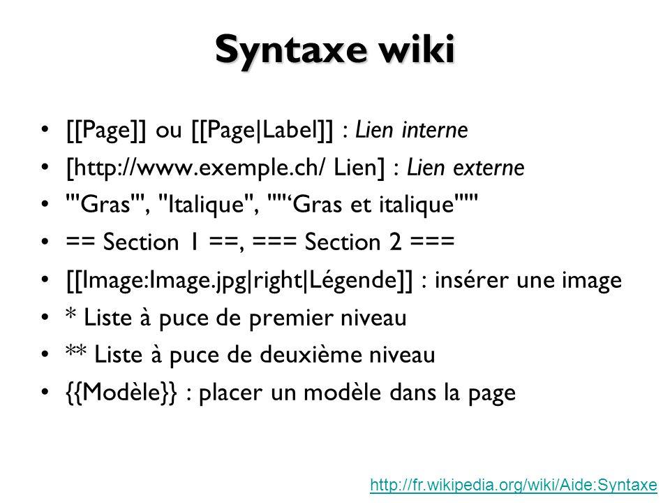 Syntaxe wiki [[Page]] ou [[Page|Label]] : Lien interne [http://www.exemple.ch/ Lien] : Lien externe Gras , Italique , Gras et italique == Section 1 ==, === Section 2 === [[Image:Image.jpg|right|Légende]] : insérer une image * Liste à puce de premier niveau ** Liste à puce de deuxième niveau {{Modèle}} : placer un modèle dans la page http://fr.wikipedia.org/wiki/Aide:Syntaxe