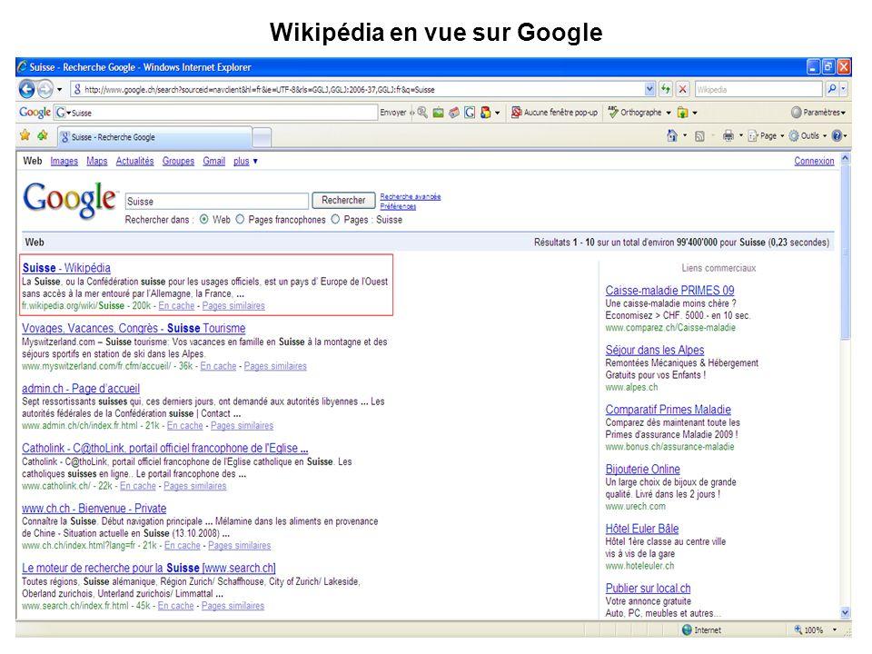 Wikipédia en vue sur Google