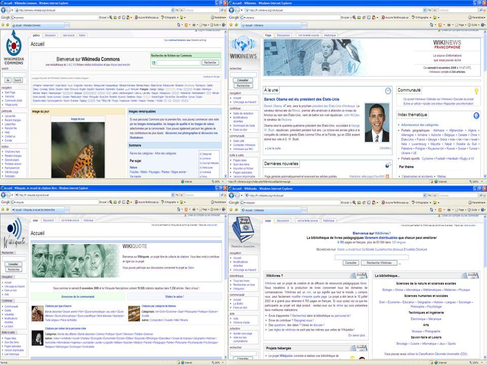 Statistiques Wikipédia en français (novembre 2008) : –725 000 articles –487 000 utilisateurs enregistrés –179 administrateurs (moins de 1%) –10 arbitres –172 robots