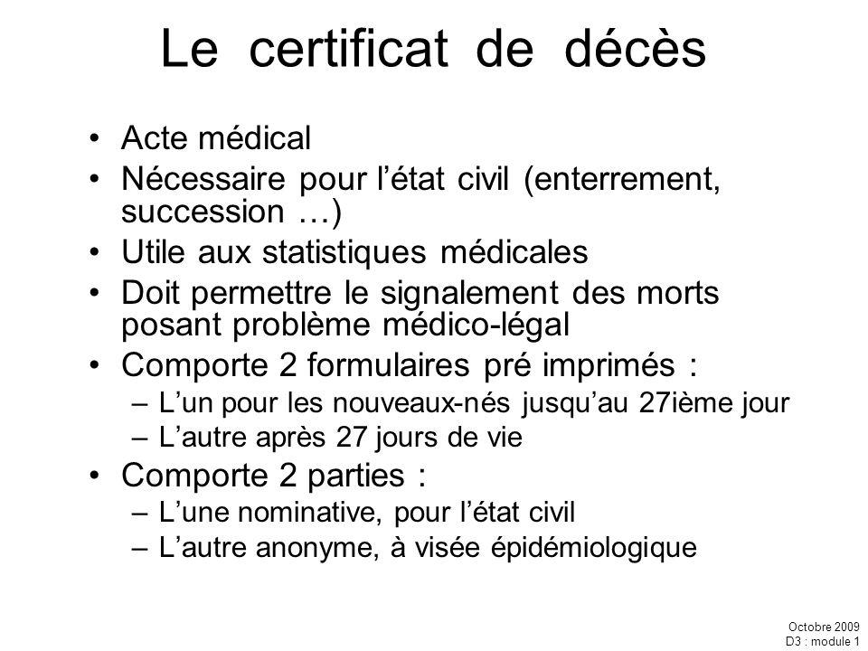 Octobre 2009 D3 : module 1 Le certificat de décès Acte médical Nécessaire pour létat civil (enterrement, succession …) Utile aux statistiques médicale