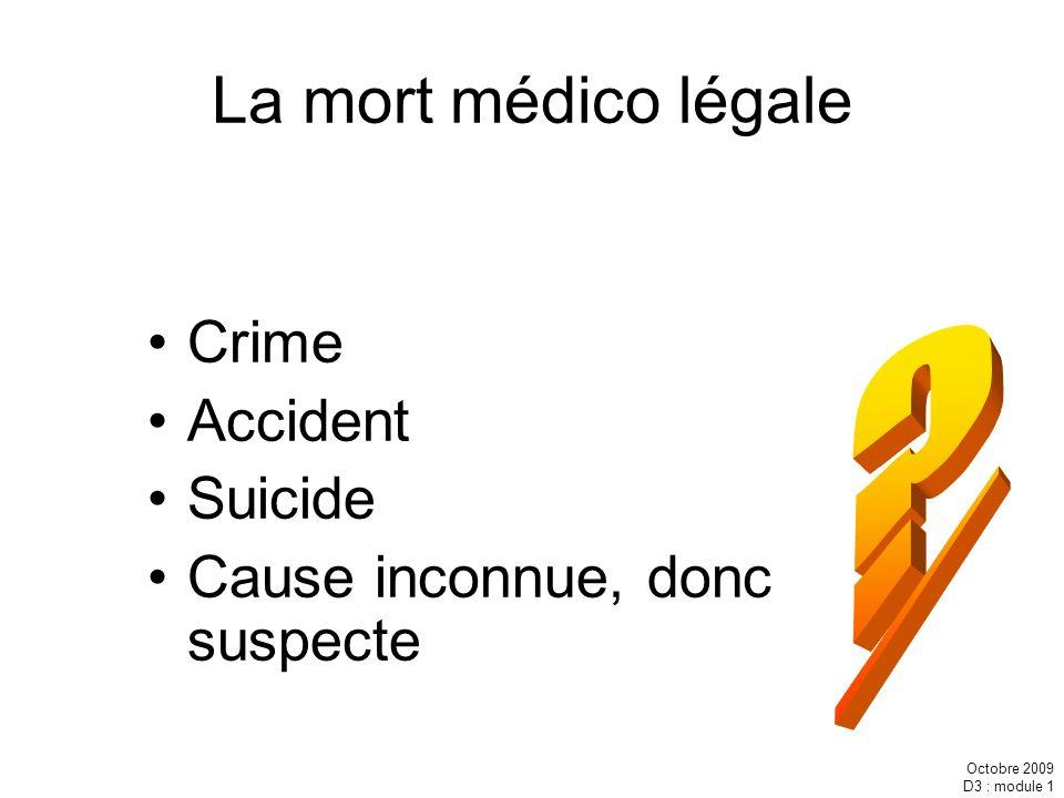 Octobre 2009 D3 : module 1 La mort médico légale Crime Accident Suicide Cause inconnue, donc suspecte