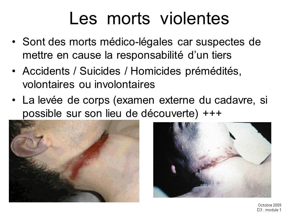 Octobre 2009 D3 : module 1 Les morts violentes Sont des morts médico-légales car suspectes de mettre en cause la responsabilité dun tiers Accidents /