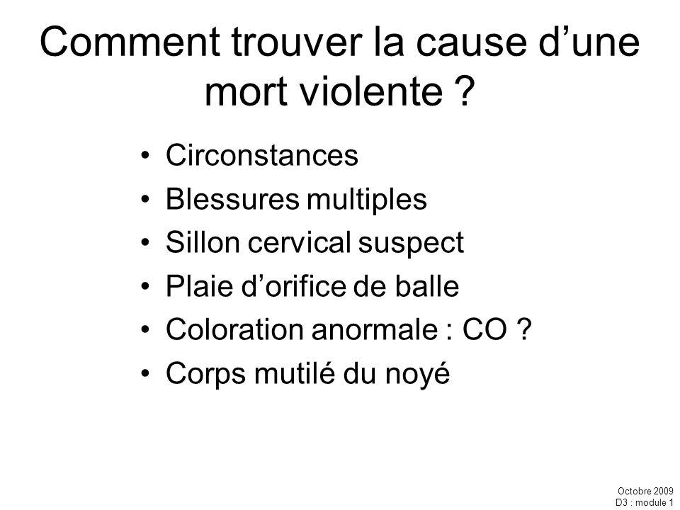 Octobre 2009 D3 : module 1 Comment trouver la cause dune mort violente ? Circonstances Blessures multiples Sillon cervical suspect Plaie dorifice de b