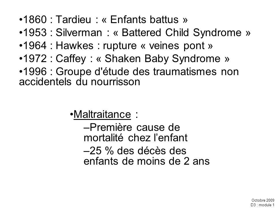 Octobre 2009 D3 : module 1 1860 : Tardieu : « Enfants battus » 1953 : Silverman : « Battered Child Syndrome » 1964 : Hawkes : rupture « veines pont »