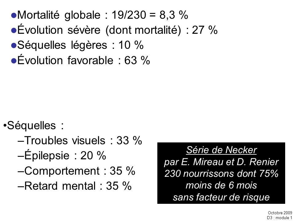 Octobre 2009 D3 : module 1 Série de Necker par E. Mireau et D. Renier 230 nourrissons dont 75% moins de 6 mois sans facteur de risque Mortalité global