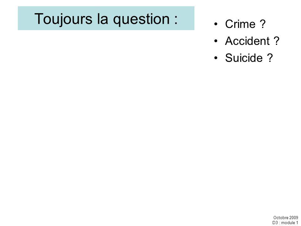 Octobre 2009 D3 : module 1 Toujours la question : Crime ? Accident ? Suicide ?