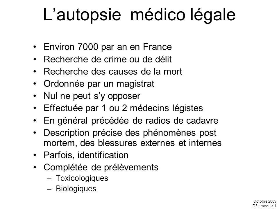 Octobre 2009 D3 : module 1 Lautopsie médico légale Environ 7000 par an en France Recherche de crime ou de délit Recherche des causes de la mort Ordonn