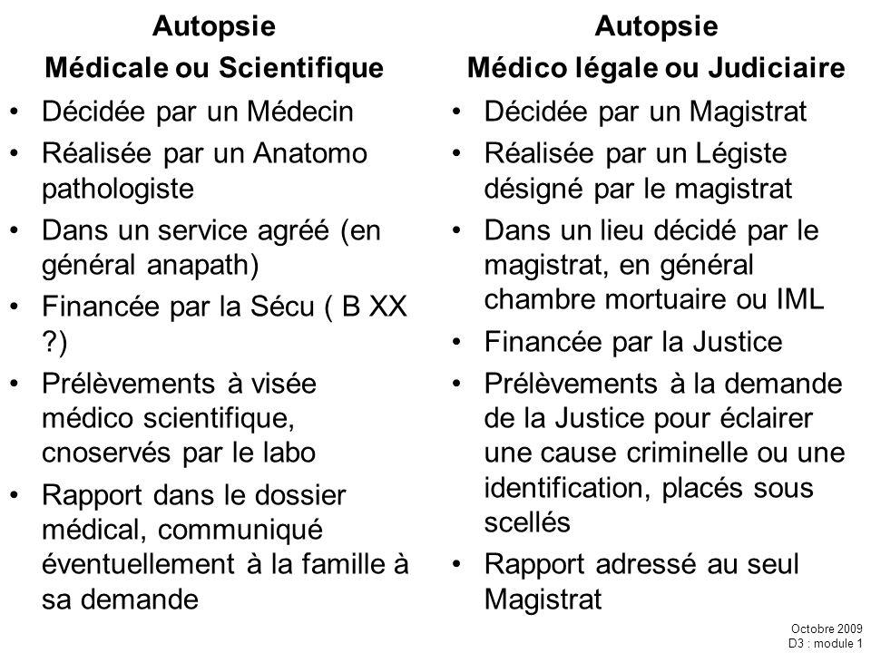 Octobre 2009 D3 : module 1 Autopsie Médicale ou Scientifique Décidée par un Médecin Réalisée par un Anatomo pathologiste Dans un service agréé (en gén