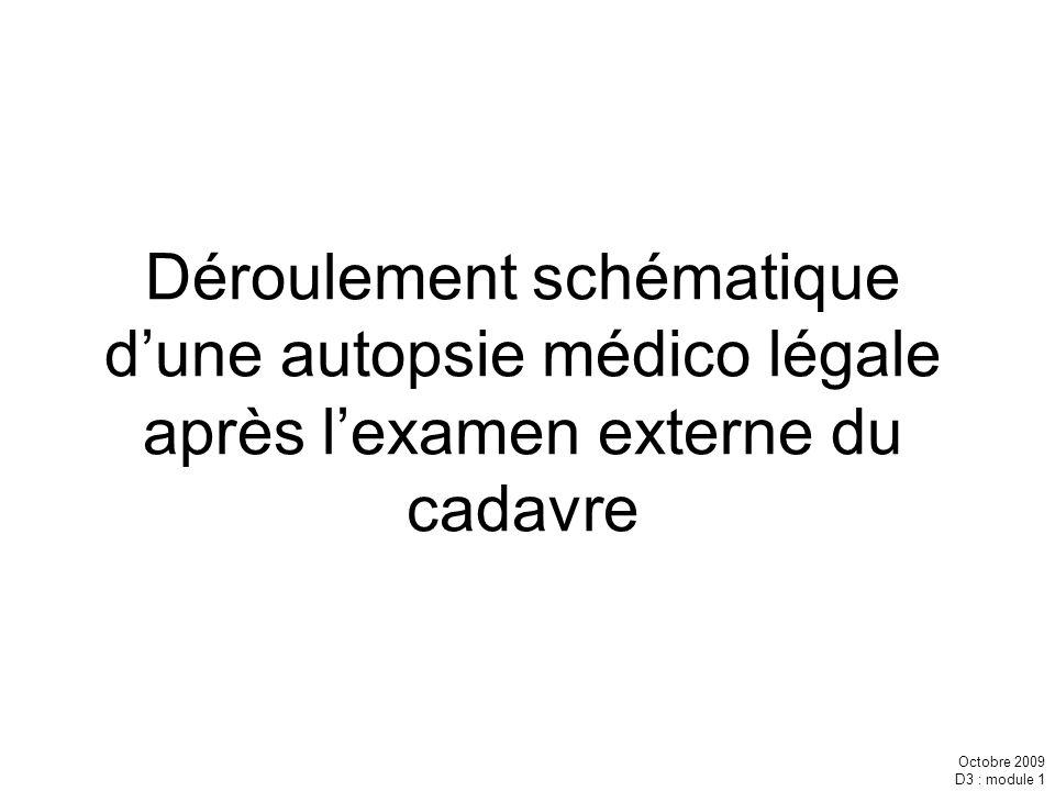 Octobre 2009 D3 : module 1 Déroulement schématique dune autopsie médico légale après lexamen externe du cadavre