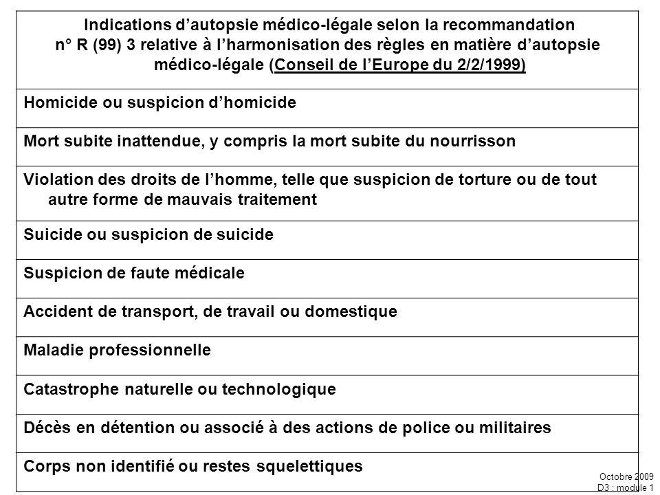 Octobre 2009 D3 : module 1 Indications dautopsie médico-légale selon la recommandation n° R (99) 3 relative à lharmonisation des règles en matière dau