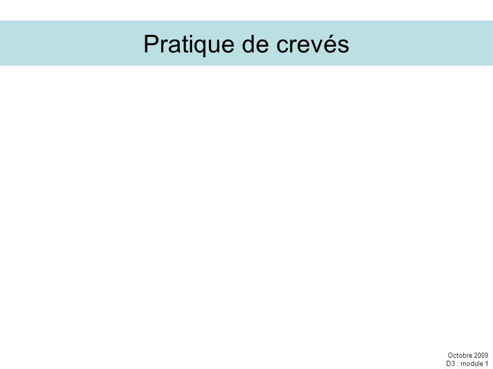 Octobre 2009 D3 : module 1 Pratique de crevés