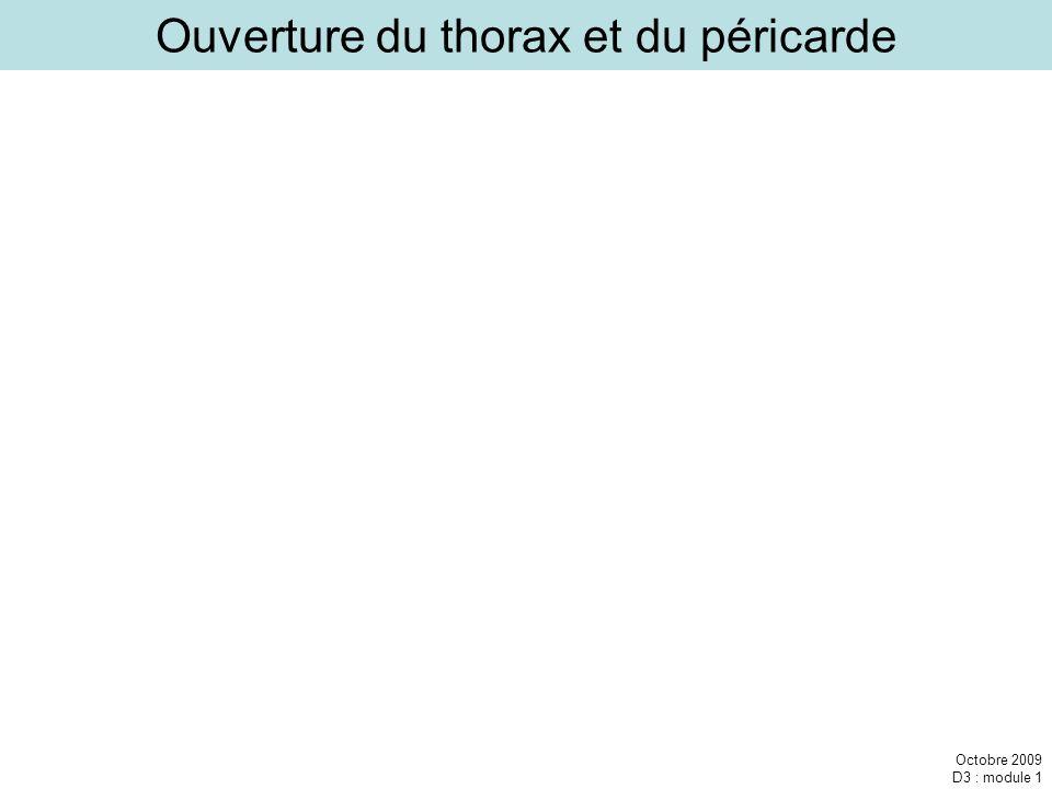 Octobre 2009 D3 : module 1 Ouverture du thorax et du péricarde