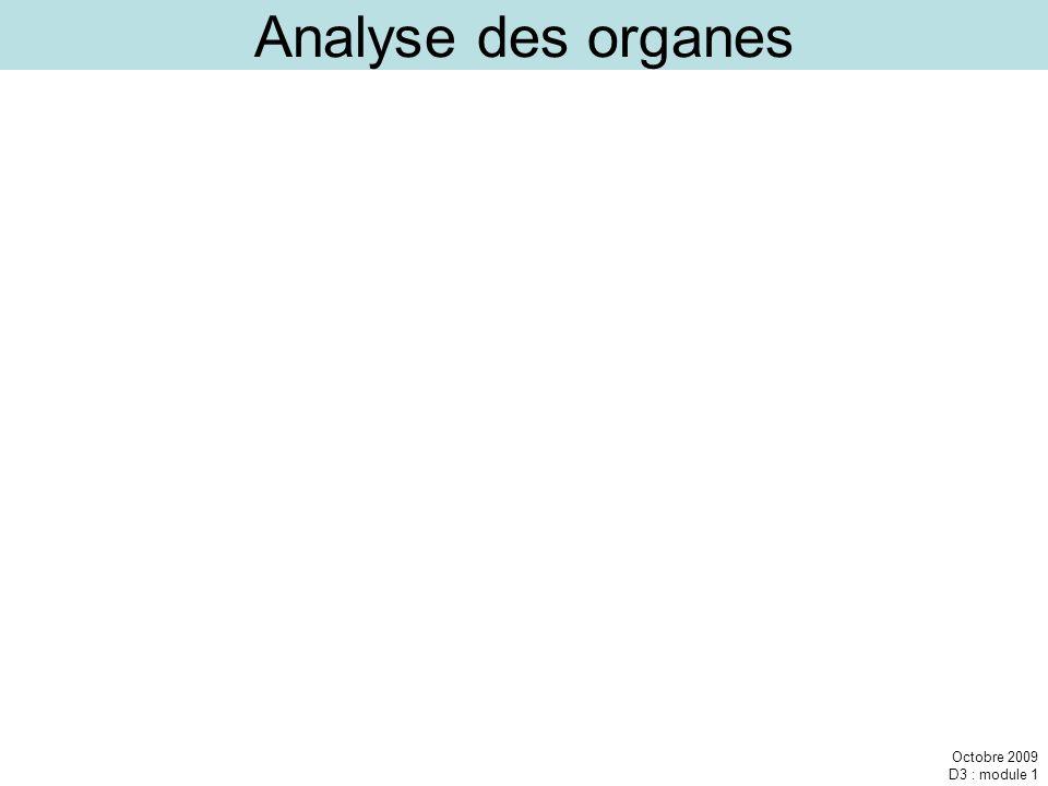 Octobre 2009 D3 : module 1 Analyse des organes