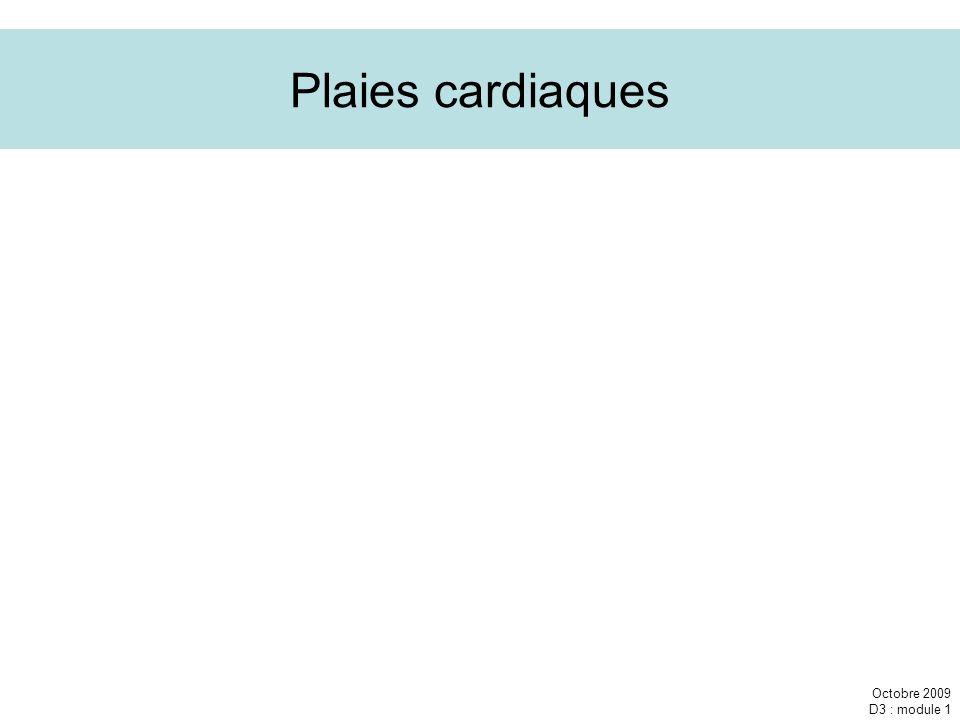 Octobre 2009 D3 : module 1 Plaies cardiaques
