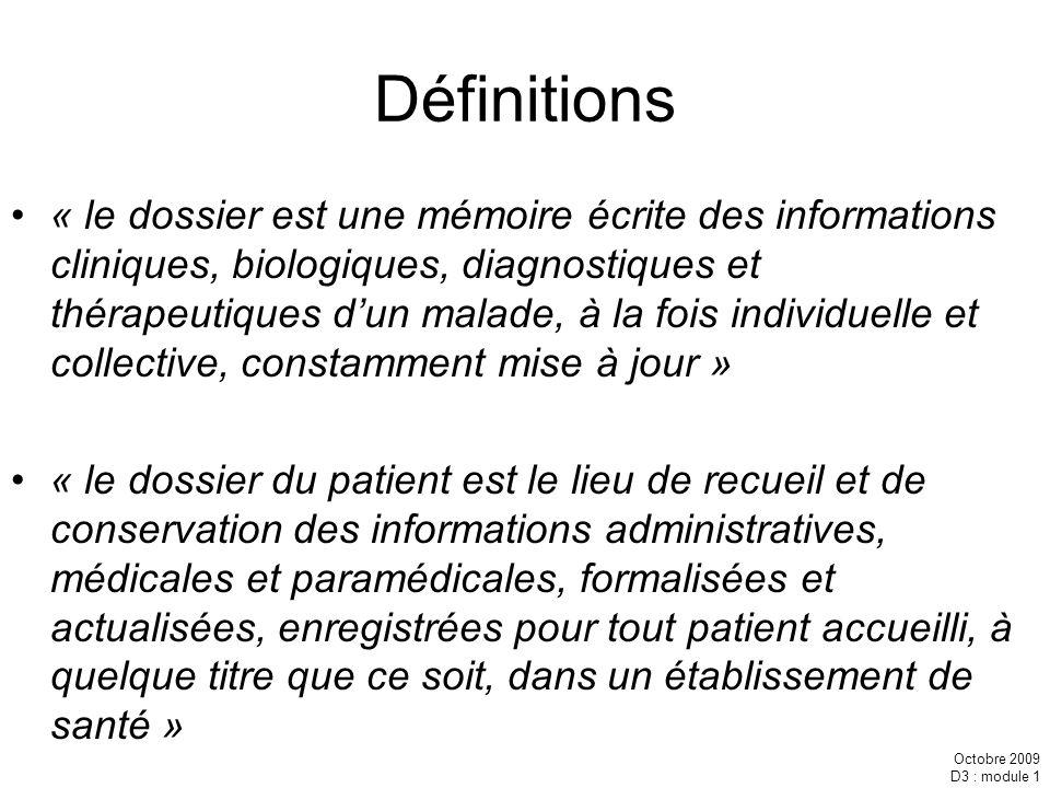 Octobre 2009 D3 : module 1 Définitions « le dossier est une mémoire écrite des informations cliniques, biologiques, diagnostiques et thérapeutiques du