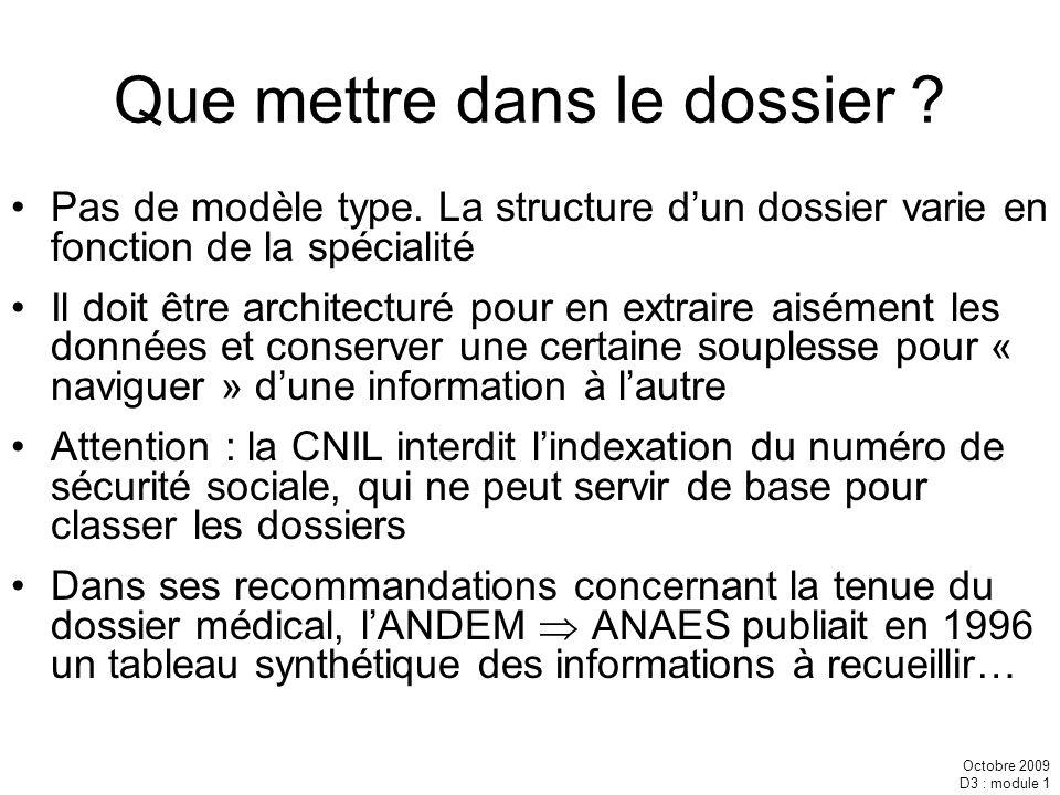 Octobre 2009 D3 : module 1 Que mettre dans le dossier ? Pas de modèle type. La structure dun dossier varie en fonction de la spécialité Il doit être a