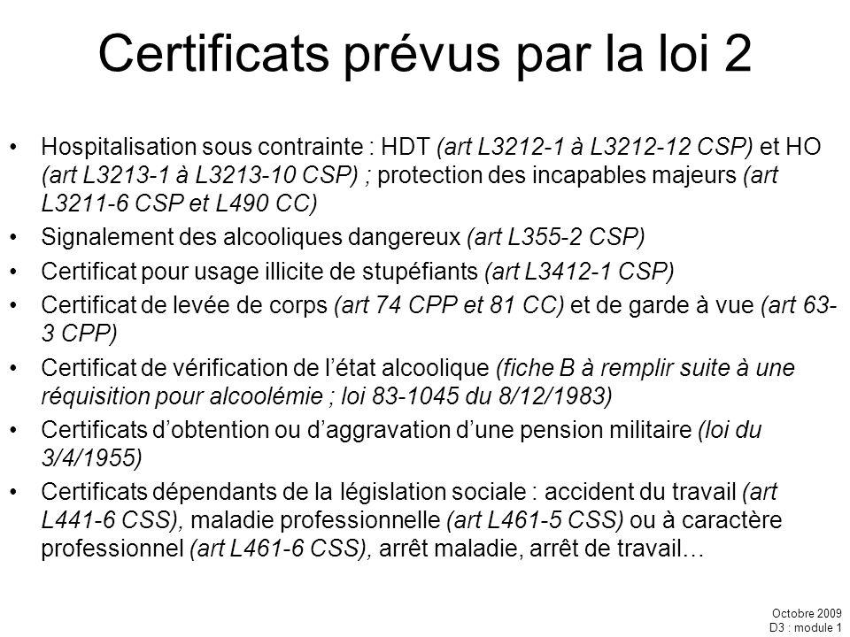 Octobre 2009 D3 : module 1 Certificats prévus par la loi 2 Hospitalisation sous contrainte : HDT (art L3212-1 à L3212-12 CSP) et HO (art L3213-1 à L32